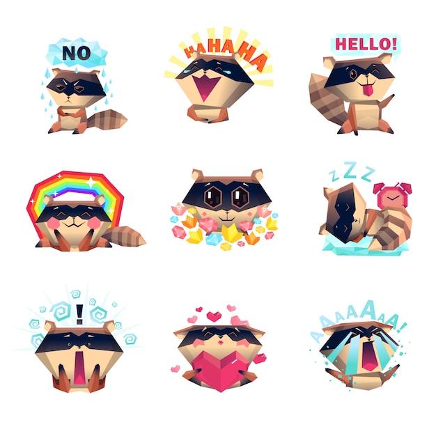 Emotions of raccoon set cartoon style Free Vector