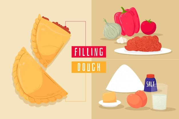 Ricetta empanada e deliziosi ingredienti Vettore gratuito