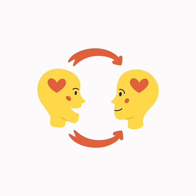 Empathy and exchange of emotions concept Premium Vector
