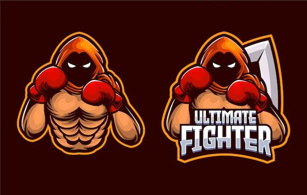 Бокс emperor muscle fighter, дракон спорт и эспорт логотип шаблон Premium векторы