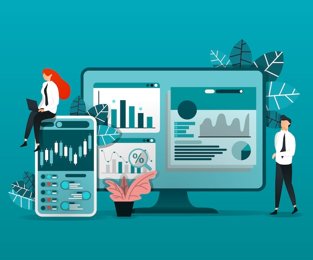 Employee analyzes data Premium Vector