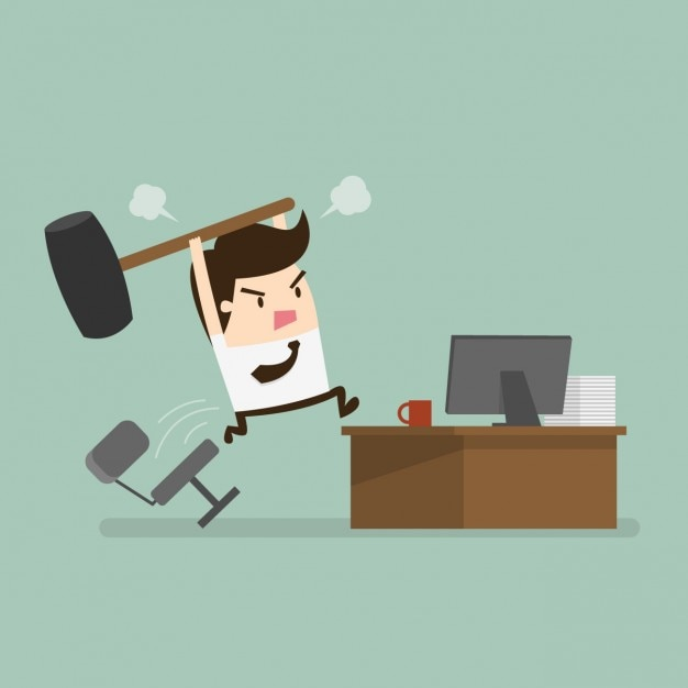 Employee angry at the office Free Vector