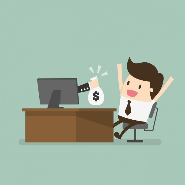 Employee being paid Free Vector