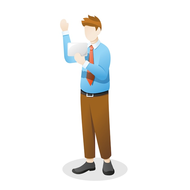 Employee or a businessman waving hand and holding something goods Premium Vector