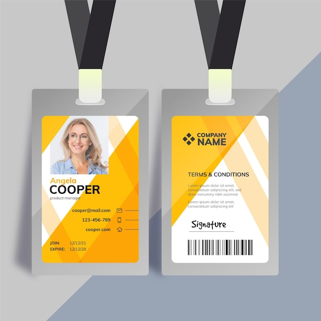 Employee card template with photo Free Vector