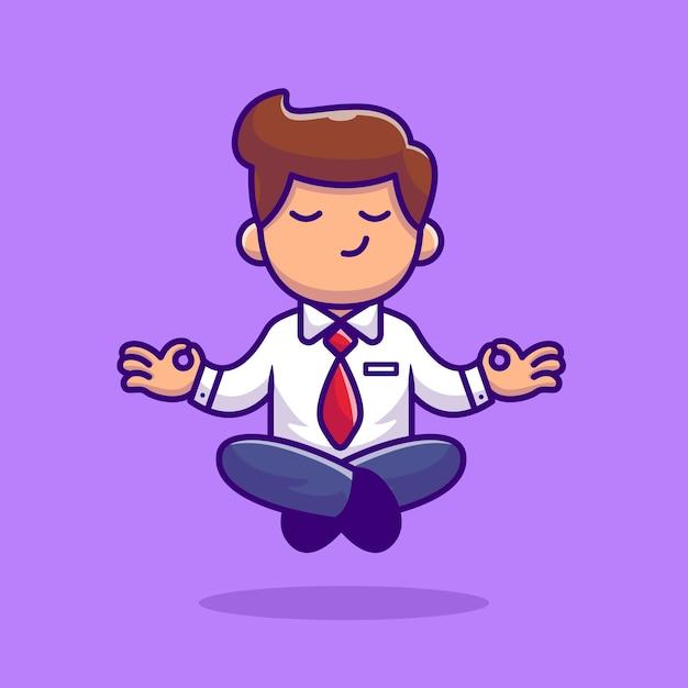 ヨガ瞑想漫画イラストを行う従業員。人ヨガアイコンコンセプト Premiumベクター