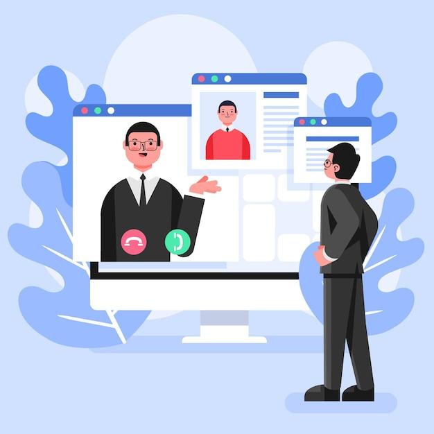 Colloquio online di dipendenti e datori di lavoro Vettore gratuito