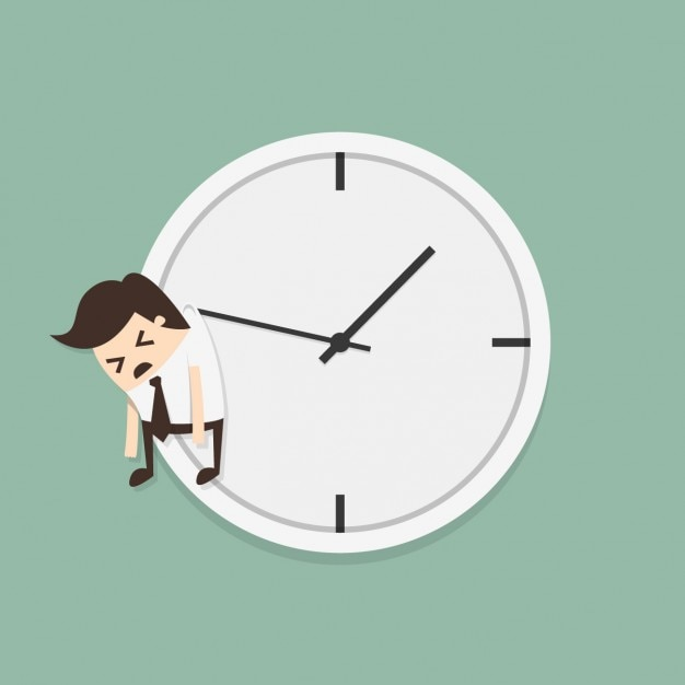 Employee hanging of a clock Free Vector