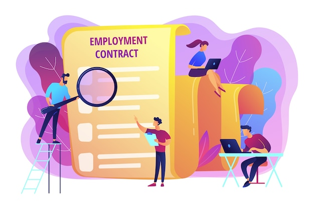 Employee hiring. business document. hr management. employment agreement, employment contract form, employee and employer relations concept. Free Vector