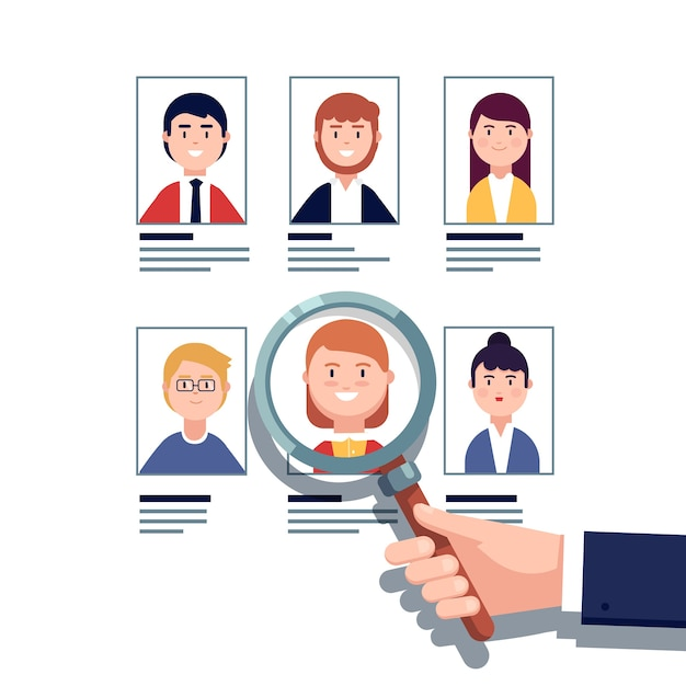 Employee hiring research concept Free Vector