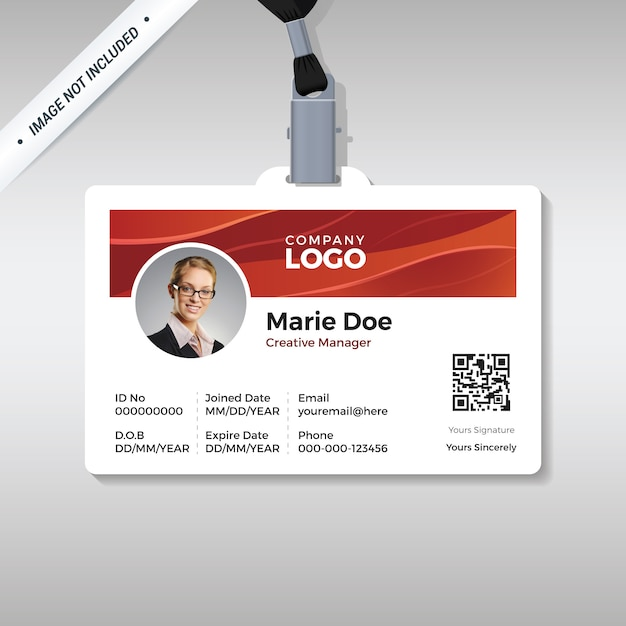 Employee id card with shiny red wave background Premium Vector