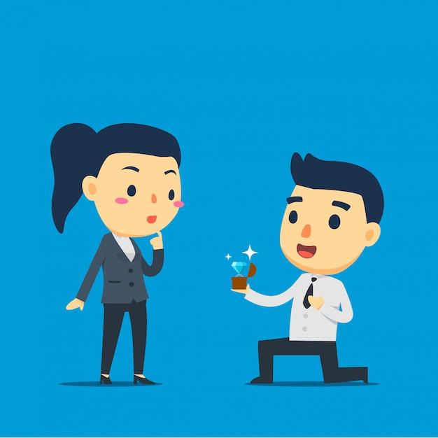An employee is proposing his partner Premium Vector