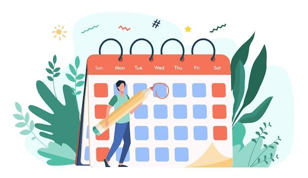 従業員が締め切り日をマークします。イベントの日付を指定し、カレンダーにメモを作る鉛筆を持つ男。スケジュール、議題、時間管理のベクトル図 無料ベクター