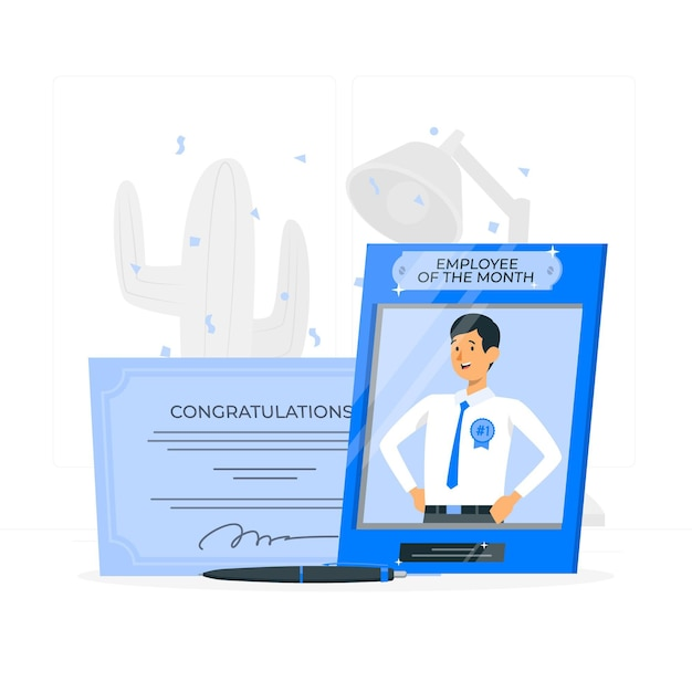 Employee of the month concept illustration Free Vector
