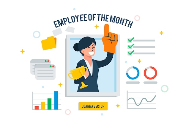 Employee of the month concept Free Vector