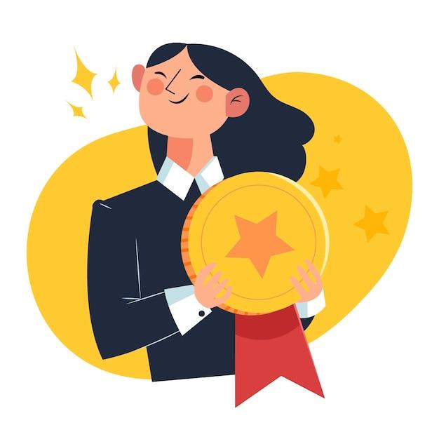 月コンセプトゴールデンメダルの従業員 Premiumベクター