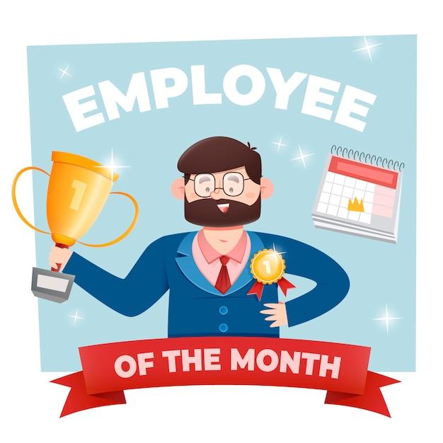 賞を持つ月コンセプトの従業員 無料ベクター