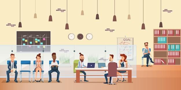 Employee queue, people work by desk at office Premium Vector