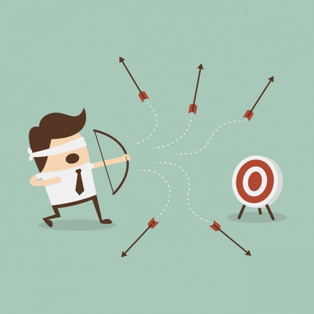 Employee shooting with a bow Free Vector