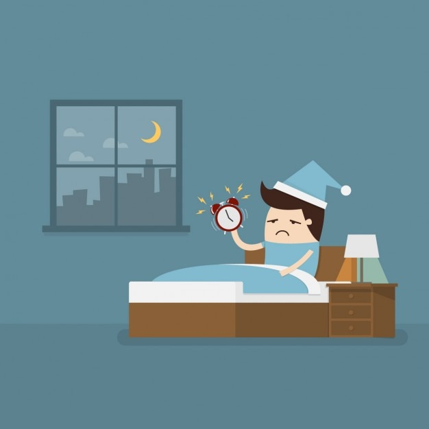 Employee waking up early to go to work Free Vector