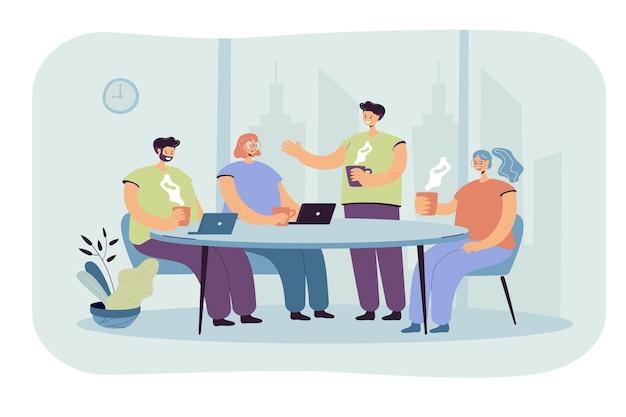 직원들은 커피 휴식 시간 동안 브레인 스토밍합니다. 만화 그림 무료 벡터