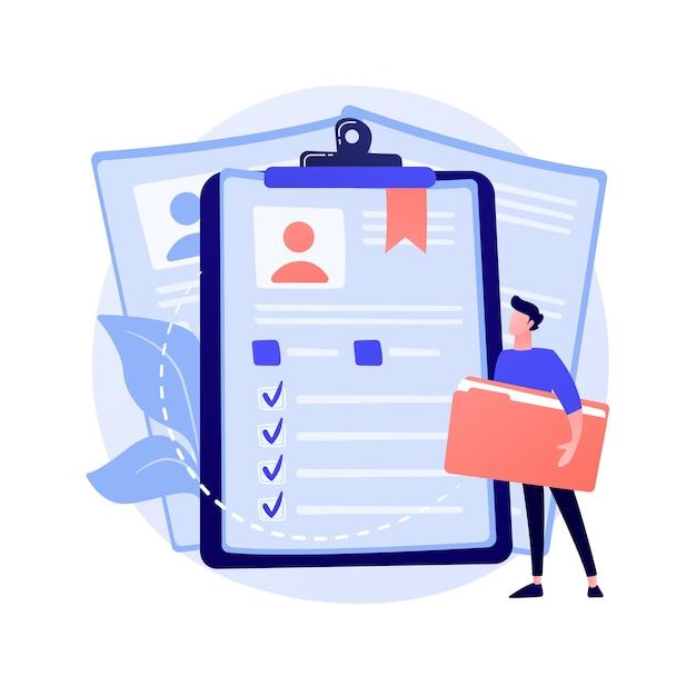 従業員の履歴書、候補者が再開します。企業の労働者、学生idはフラットなデザイン要素を分離します。求人応募、アバター、個人情報のコンセプトイラスト 無料ベクター