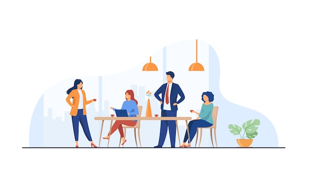 Employees meeting in office kitchen and drinking coffee Free Vector