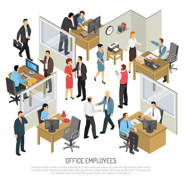Employees in office isometric illustration Free Vector