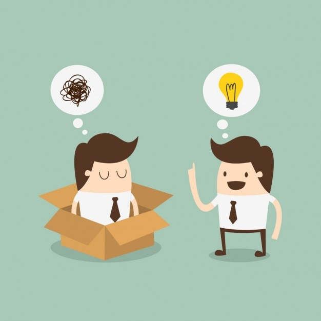 Employees speaking about an idea Free Vector