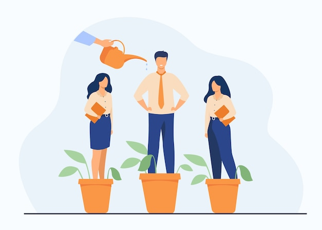 Employer growing business professionals metaphor. hand watering plants and employees in flowerpots. vector illustration for growth, development, career training concept Free Vector