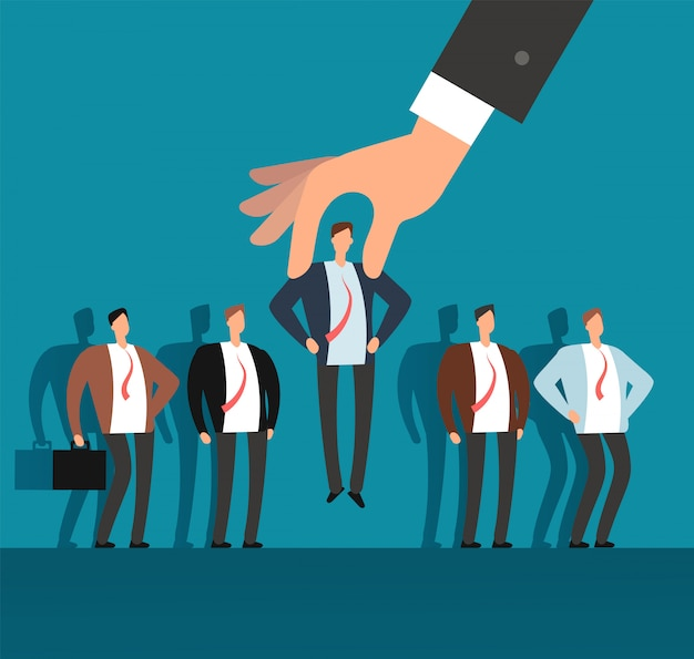 Employer hand choosing man from selected group of people. recruitment vector business concept Premium Vector