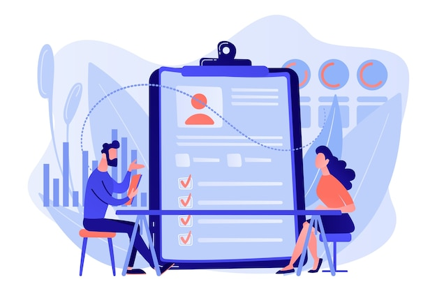 Employer meeting job applicant at pre-employment assessment. employee evaluation, assessment form and report, performance review concept illustration Free Vector
