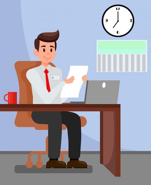 Employer in private office vector illustration Premium Vector