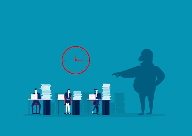 The employer shadow command employee hard work in office Premium Vector