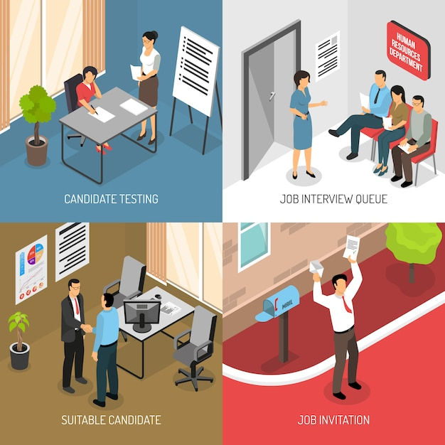 Employment isometric design concept Free Vector