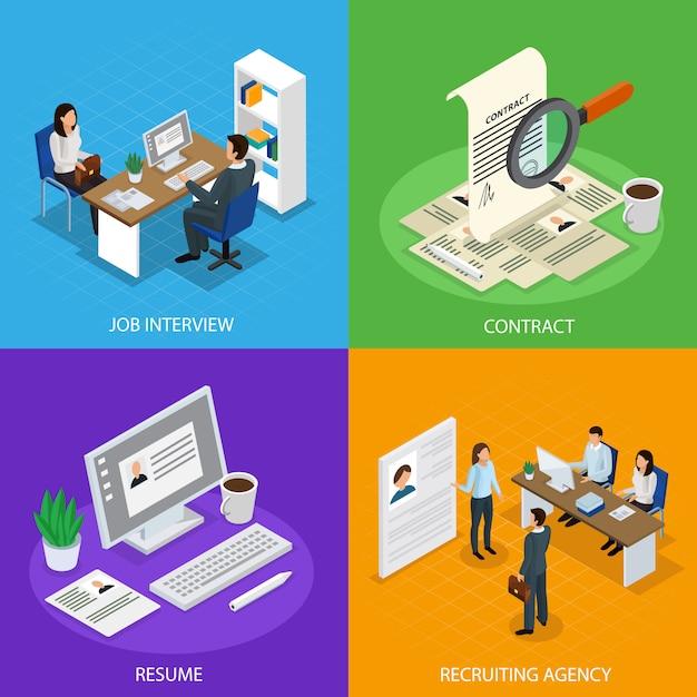 Employment recruitment isometric composition set Free Vector