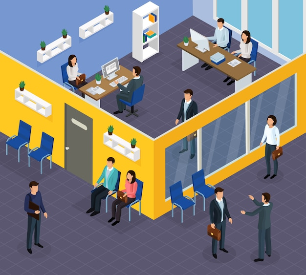 Employment recruitment isometric composition Free Vector
