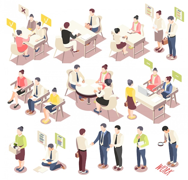 Employment and recruitment isometric icons set with people offering their skills considering vacancies awaiting job interview isolated vector illustration Free Vector