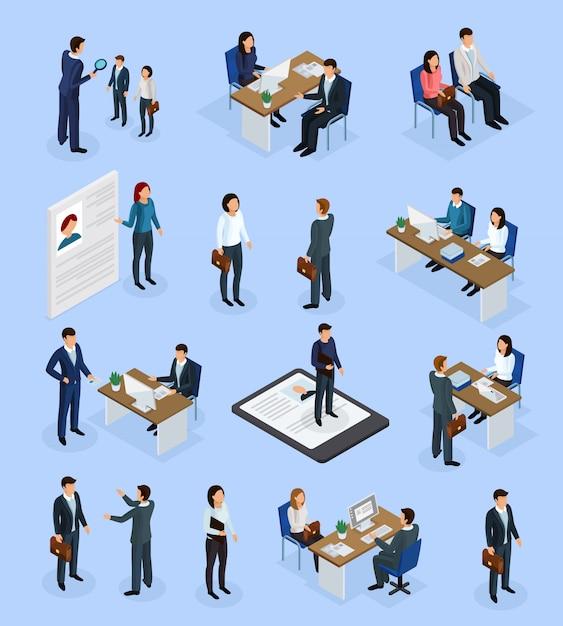 Employment recruitment isometric scenics Free Vector