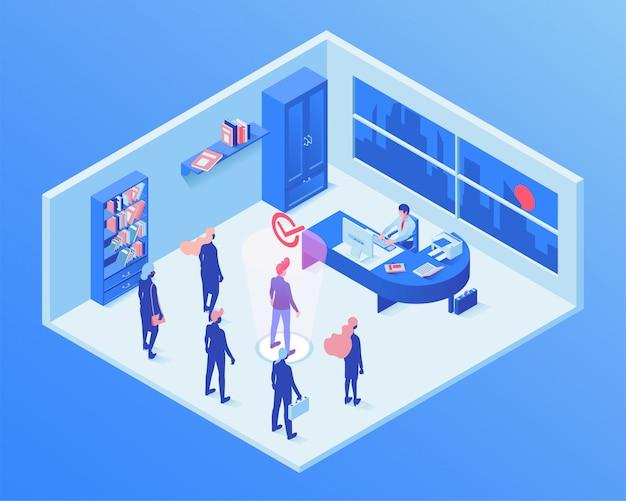 雇用サービスのアイソメ図 Premiumベクター