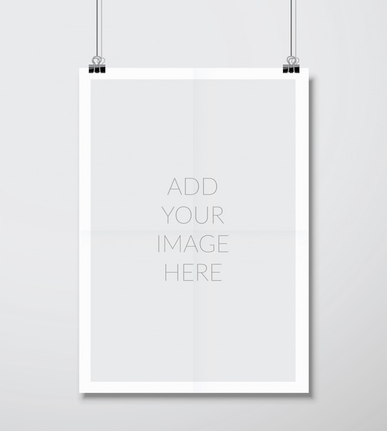 Empty a4 sized vector paper frame mockup hanging with paper clip Premium Vector