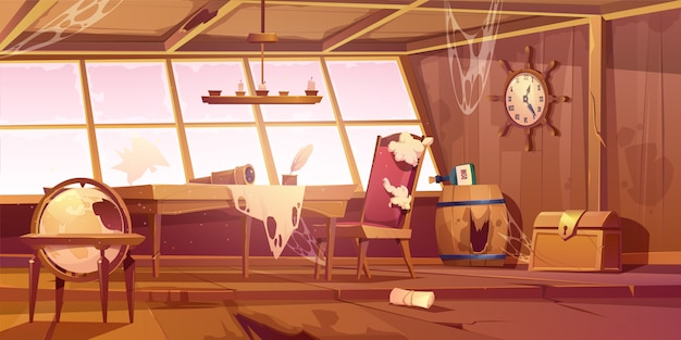 Empty abandoned old pirate ship room Free Vector