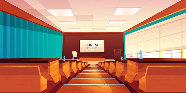 Empty auditorium, lecture hall or meeting room Free Vector
