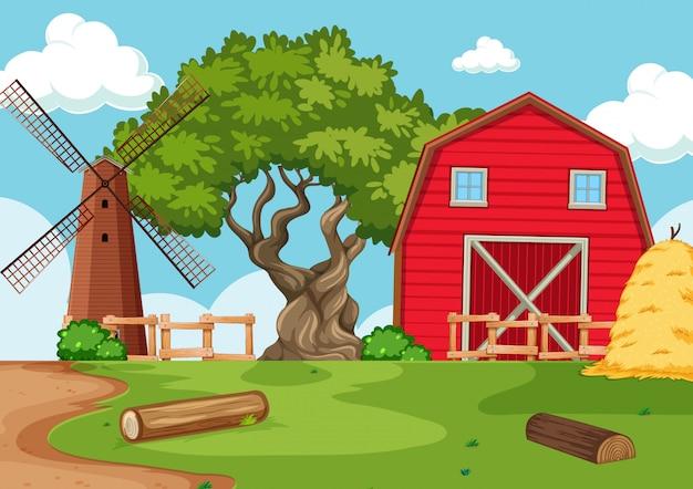 Paesaggio vuoto dell'azienda agricola della natura del fondo Vettore gratuito