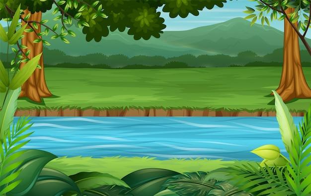 Empty background nature scenery illustration Premium Vector