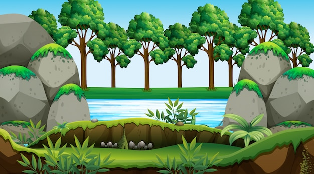 Empty background nature scenery | Free Vector