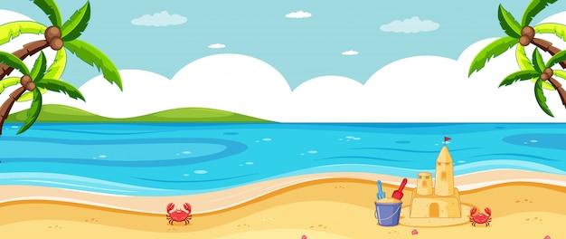 Scenario tropicale della spiaggia del fondo vuoto Vettore gratuito