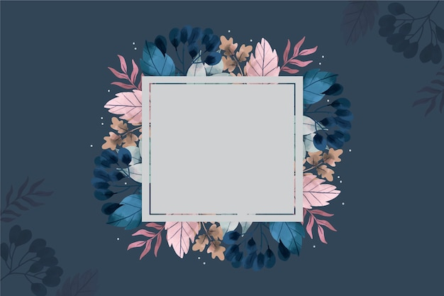 Empty badge on winter flowers background Free Vector