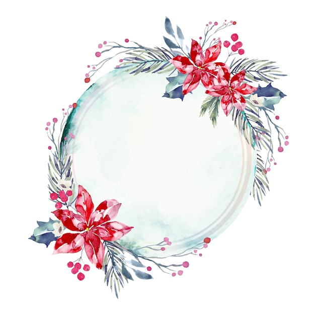 Empty badge with winter flowers background Free Vector