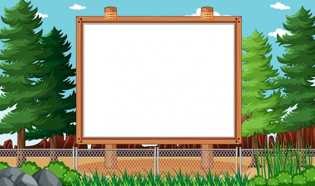Пустая доска объявлений в природном парке пейзаж Бесплатные векторы